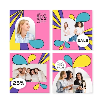 Collection de post instagram de vente groovy dessinée à la main