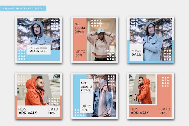 Collection de post instagram de vente de mode abstraite
