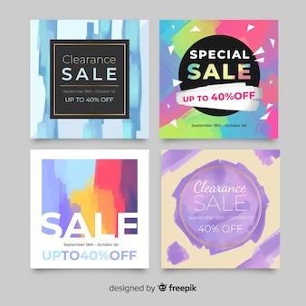 Collection de post de vente abstrait instagram