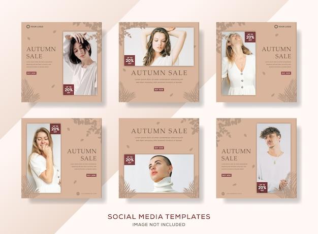 Collection de poste de modèle de bannières de vente automne