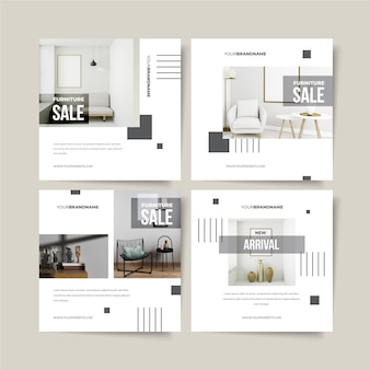 Collection de postes de vente de meubles avec photo