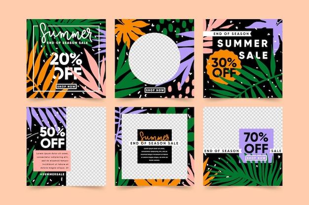 Collection de postes de vente tropicaux de fin d'été