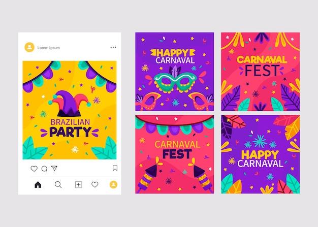 Collection de posts de carnaval instagram