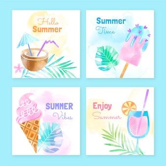 Collection de posts instagram d'été aquarelle peinte à la main