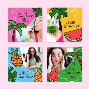 Collection de posts instagram d'été dessinés à la main avec photo