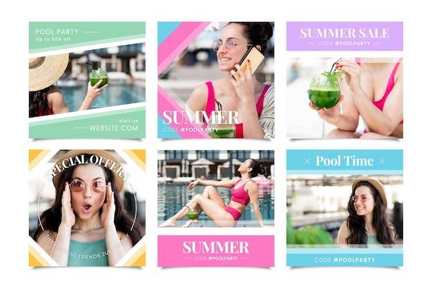 Collection de posts instagram d'été plat avec photo