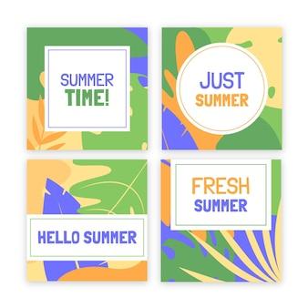 Collection de posts instagram d'été plat