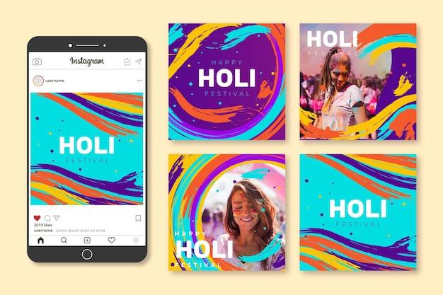 Collection de posts instagram festival holi dessinés à la main