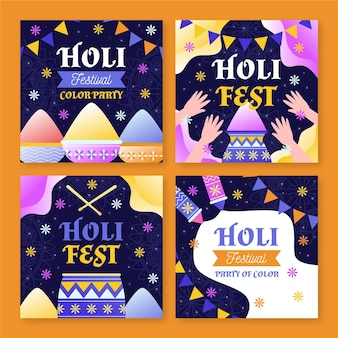 Collection de posts instagram festival holi dessinés à la main