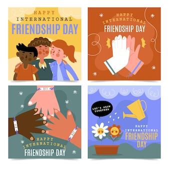 Collection de posts instagram de la journée internationale de l'amitié dessinée à la main