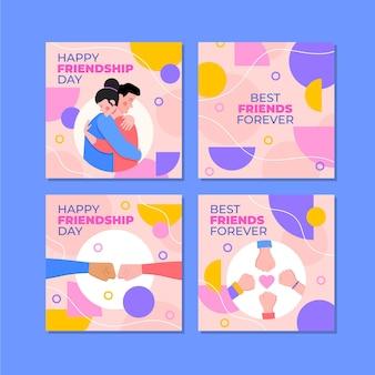 Collection De Posts Instagram De La Journée Internationale De L'amitié Plate Vecteur gratuit