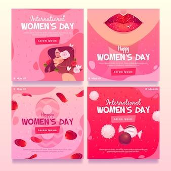 Collection de posts instagram de la journée internationale de la femme plate