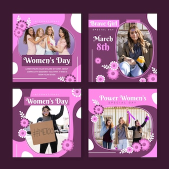 Collection de posts instagram de la journée internationale des femmes plates