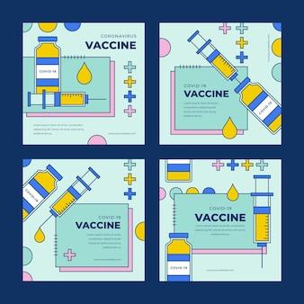 Collection de posts instagram de vaccin plat linéaire