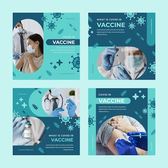 Collection de posts instagram de vaccin plat avec photos
