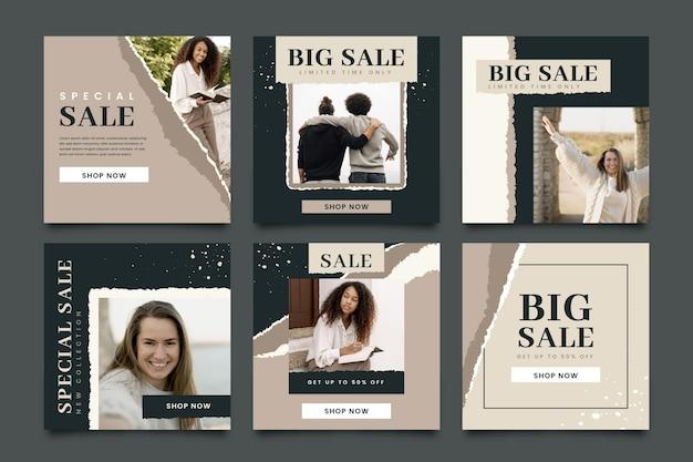 Collection de posts instagram de vente organique