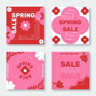 Collection de posts instagram de vente de printemps plat