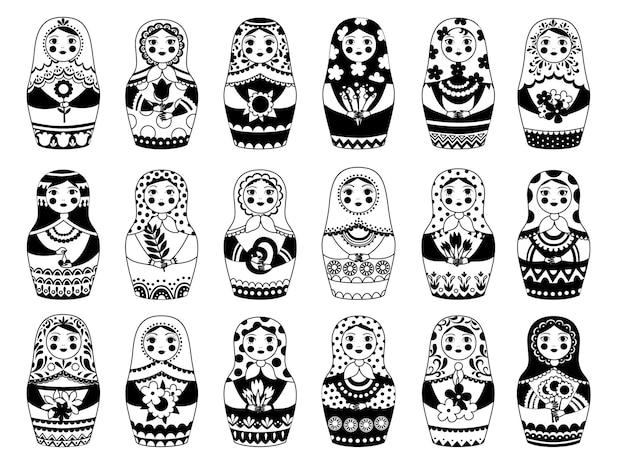 Collection de poupées russes. jouet féminin traditionnel monochrome décoration florale femme de moscou authentique visages russes vector set