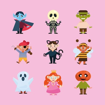Collection Pour Enfants Avec Costumes D'halloween Vecteur Premium