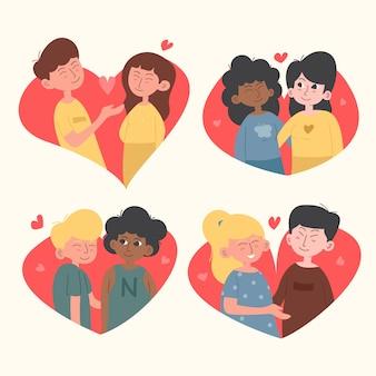 Collection pour la saint-valentin avec des couples
