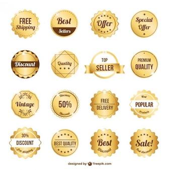 Collection Premium Badges D'or Vecteur gratuit
