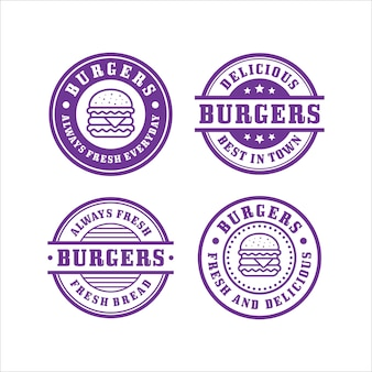 Collection premium de design de timbres burger