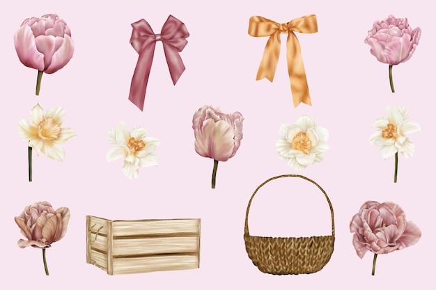 Collection printemps avec fleurs et rubans