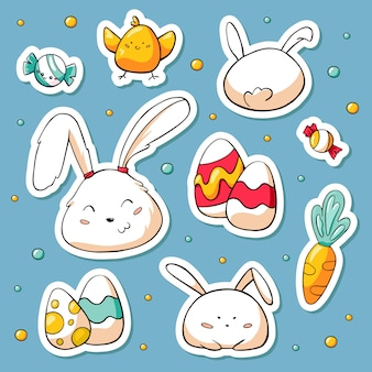 Collection de printemps de joyeux pâques et personnages de lapin