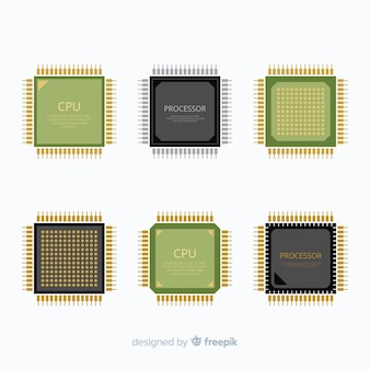 Collection de processeurs moderne avec design plat