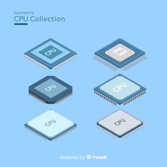 Collection de processeurs modernes avec vue isométrique