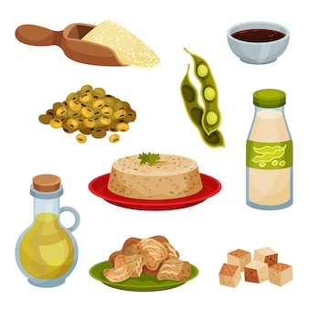 Collection de produits à base de soja sur fond blanc.