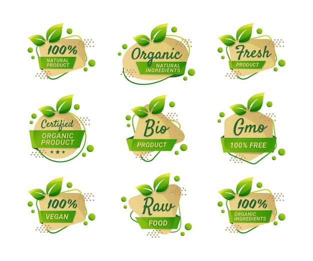 Collection de produits bio naturels d'étiquettes d'aliments biologiques