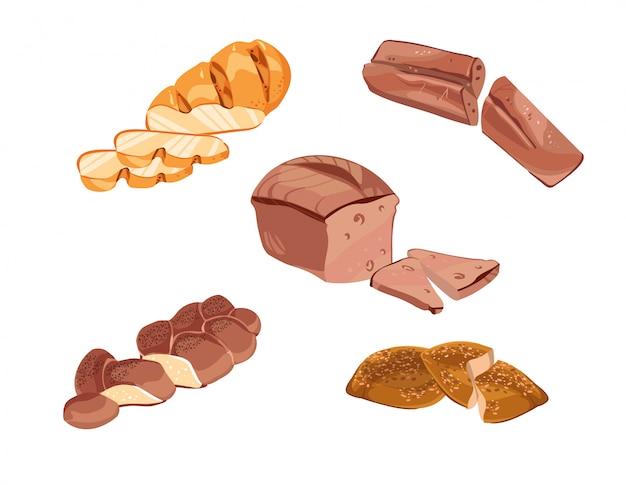 Collection de produits de boulangerie de croquis colorés