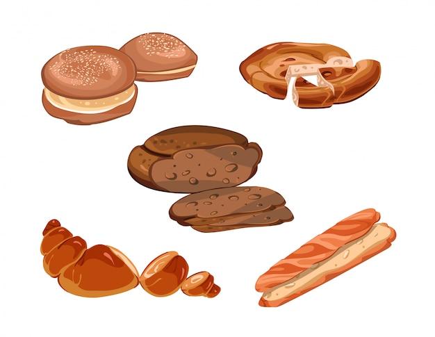 Collection de produits de boulangerie frais tranchés colorés