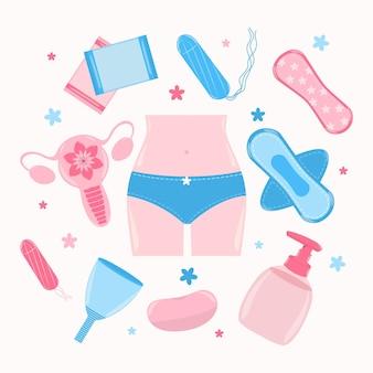 Collection de produits d'hygiène féminine