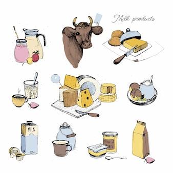 Collection de produits laitiers dessinés à la main. définir l'assortiment de l'agriculture laiteuse. illustration colorée sur fond blanc.