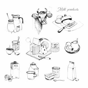 Collection de produits laitiers dessinés à la main. définir l'illustration de l'assortiment d'agriculture laiteuse