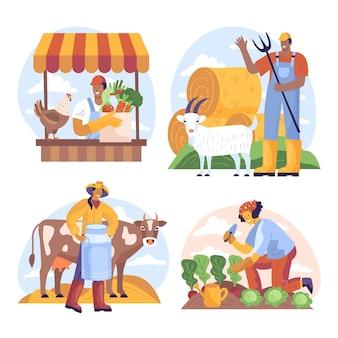 Collection de profession d'agriculture biologique