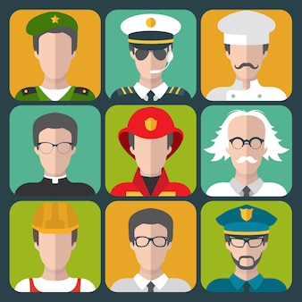 Collection de professions de dessin animé