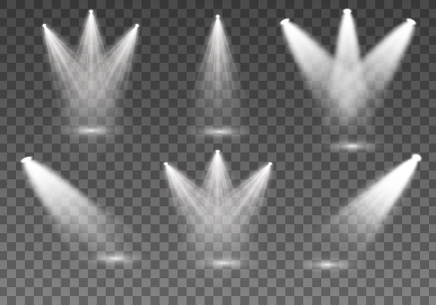 Collection de projecteurs pour l'éclairage de scène, effets transparents légers. bel éclairage lumineux avec des projecteurs. ensemble de projecteur blanc isolé.