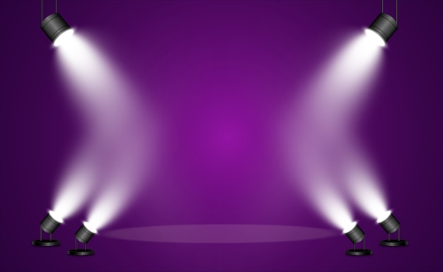 Collection de projecteurs pour l'éclairage de scène, effets transparents à la lumière. bel éclairage lumineux