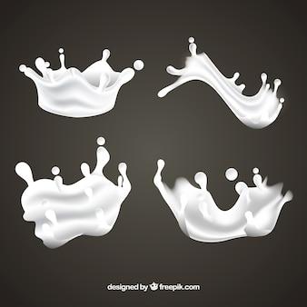 Collection de projections de lait frais dans un style réaliste