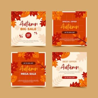 Collection de publications d'automne sur les réseaux sociaux