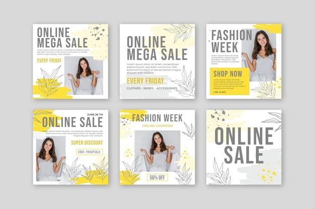 Collection de publications instagram d'achat en ligne