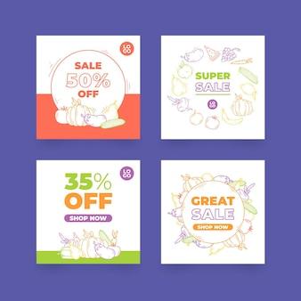 Collection de publications instagram sur les aliments biologiques