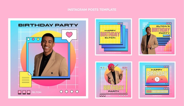 Collection de publications instagram d'anniversaire dégradé rétro vaporwave