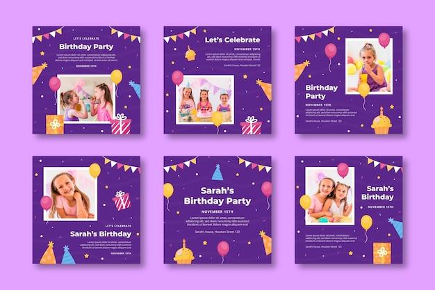Collection de publications instagram d'anniversaire pour enfants