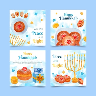 Collection de publications instagram aquarelle hanoukka