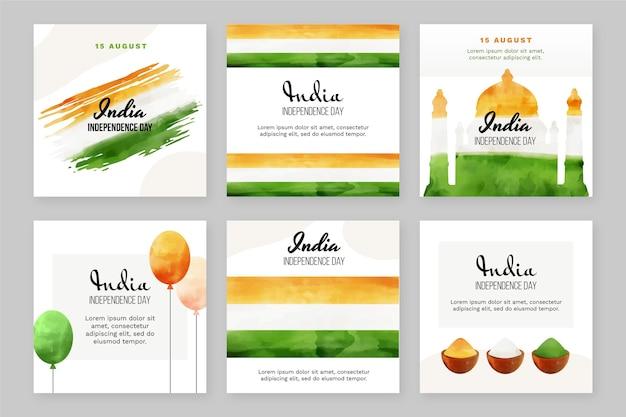 Collection de publications instagram aquarelle peinte à la main pour la fête de l'indépendance de l'inde