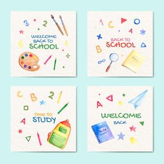 Collection de publications instagram à l'aquarelle pour la rentrée scolaire